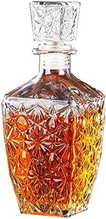 GAOXIAOMEI Decantador De Whisky De Diseño Cuadrado Juego De Decantador De Whisky para Escocés, Bourbon O Whisky Elegante Regalo para Hombres Decantador De Cristal para Alcohol con Tapón Adornado