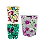 Kole Imports HM066 Round Floral Design Wastebasket