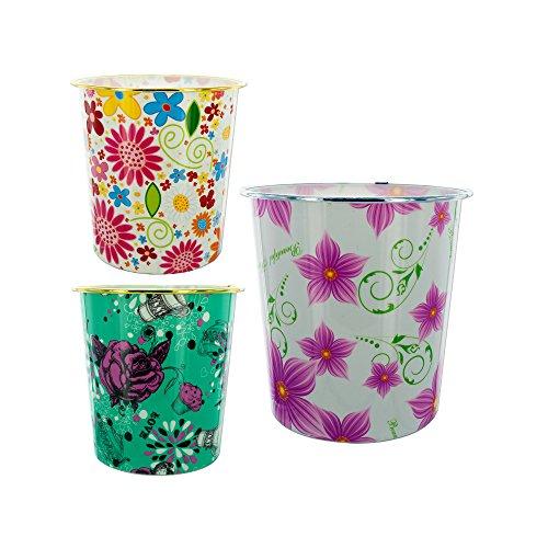Kole Imports HM066 Round Floral Design Wastebasket by Kole Imports
