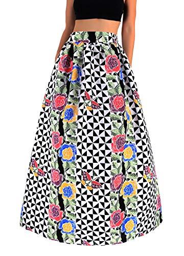 Novia's Choice Women African Floral Print Pleated High Waist Maxi Long A-Line Skirt(Black Geometric Flower ()