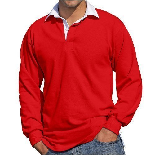 Front Row - Herren Männer Langärmeliges Rugby Shirt - XL, Rot