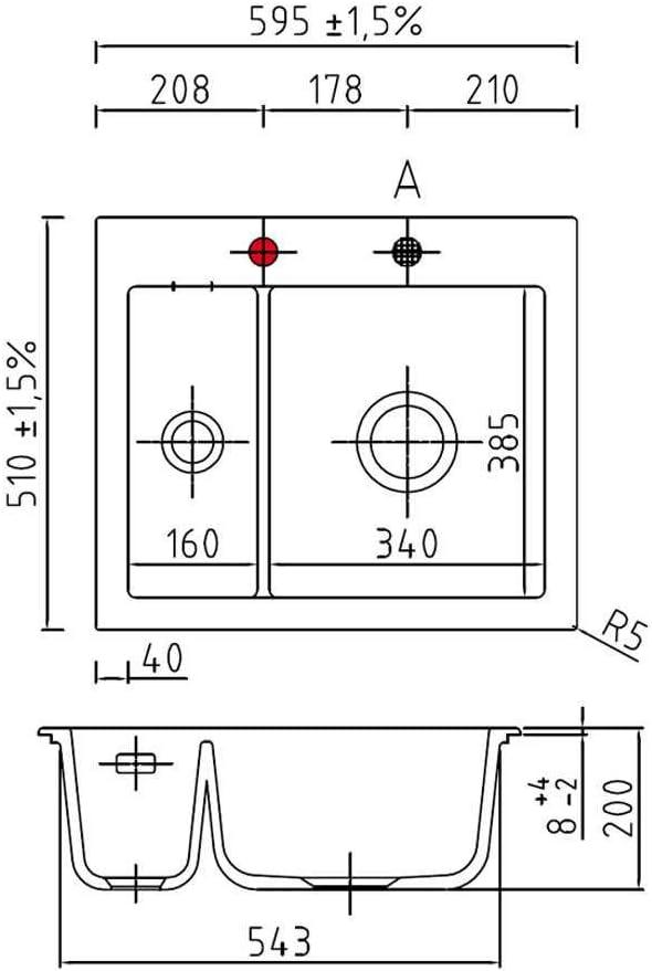 Systemceram Mera 60 Gr/önland Keramik-Sp/üle Handbet/ätigung Wei/ß gl/änzend Einbau