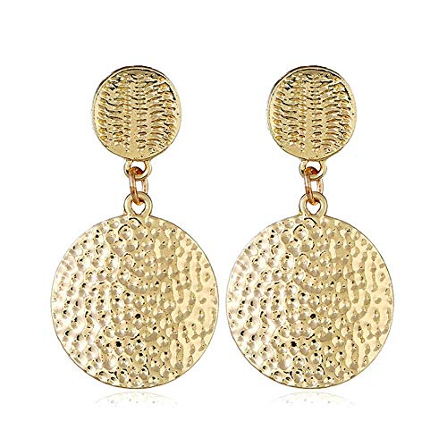 HSQYJ Round Hammered Textured Disc Dangle Gold Earrings Alloy Disc Ethnic Earrings Geometric Simple Round Circle Dangle Drop Earrings Party Shining Gift Earrings for Women Girls
