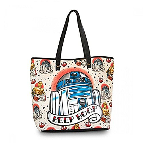 Loungefly Star Wars R2D2 Tattoo Applique Tote Bag Purse (Tan/Multi) STTB0078]()