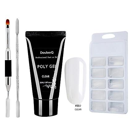 IGEMY Poly Gel 30 ml de larga duración 100 piezas uñas postizas de doble extremo cepillo