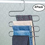 Genenic 4Pcs Multi-Purpose S-type Metal Pants Hangers,Closet Storage for Jeans Trousers Space Saver Storage Rack (14x0.3x15inchs)