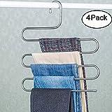 Genenic 4Pcs Multi-Purpose S-type Metal Pants Hangers,Closet Storage for Jeans Trousers Space Saver Storage Rack (14x0.3x15inchs)