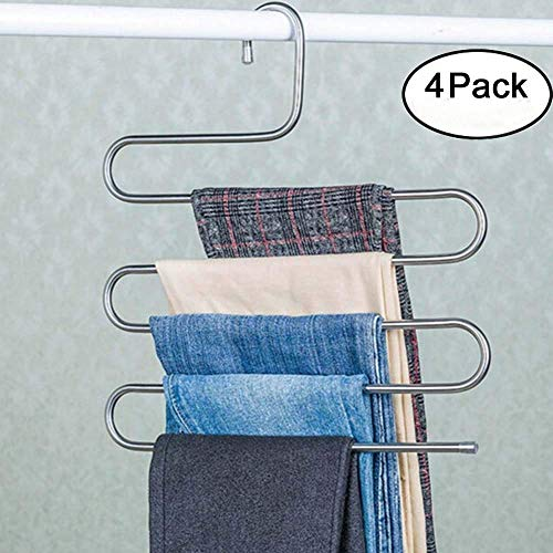 Genenic 4Pcs Multi-Purpose S-type Metal Pants Hangers,Closet Storage for Jeans Trousers Space Saver Storage Rack (14x0.3x15inchs) by Genenic