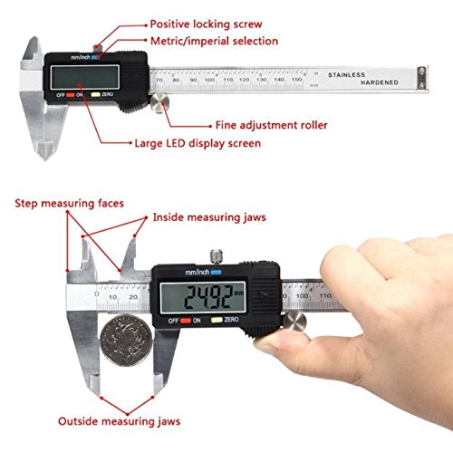 Digital Caliper Electronic Gauge Stainless Steel Tool Kit 150mm/6inch Micrometer by SisterYou (Image #3)