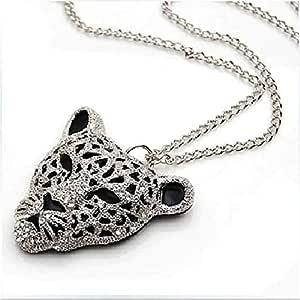 Leopard Head Necklace Silver