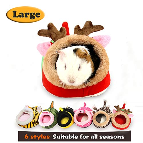 MYIDEA Warm Guinea Pigs Bed,Hedgehog Winter Nest,Rat Chinchillas & Small pet Animals Bed/Cube/House, Habitat, Lightweight, Durable, Portable, Cushion Big Mat (Small Pet – XL, Red elk)