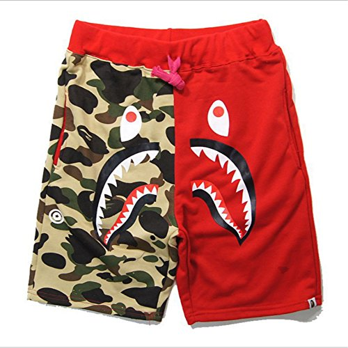 Athletic Pants Shark Pattern Camouflage Stitching Shorts Men Drawstring Black Sports Shorts (Large, Red) from Athletic Pants