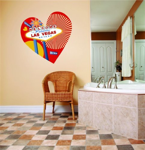 Welcome To Las Vegas Nevada Strip Heart Picture Art Peel & Stick Sticker Picture Art Graphic Design Vinyl Wall - Best Selling Cling Transfer Decal Color 779 Size : 20 (Las Vegas Strip Photo)