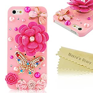 5s Case, iPhone 5&5s Case - Mavis's Diary 3D Handmade Bling Crystal Pink Flowers Colorful Butterfly Sparkle Glitter Rhinestone Hard Case Cover for iPhone 5&5s with Soft Clean Cloth