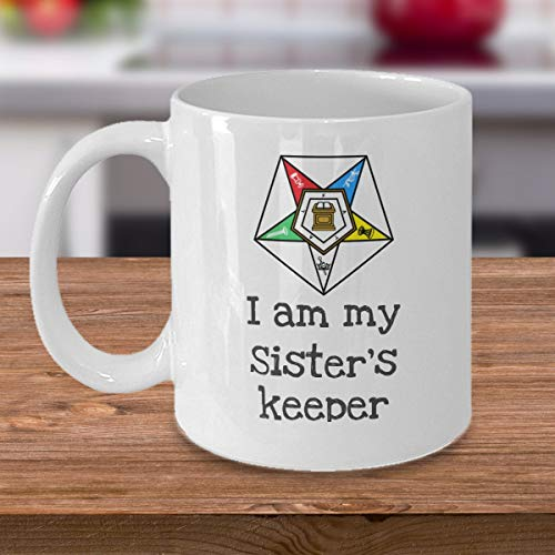 Order of the Eastern Star coffee mug - I am my Sister's keeper - OES PHA symbol masonic Freemason gift cup