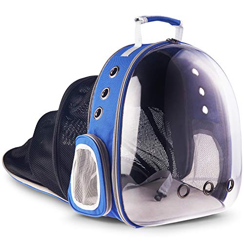 Ixagon IP-81 Pet Carrier, New Instantly Expandable Model, Cat and Small Dog Backpack, Airline Approved, Interior Floor Areas; 100 Sq Inches Folded, 296 Sq Inches Expanded, Water Resistant, Azure Blue
