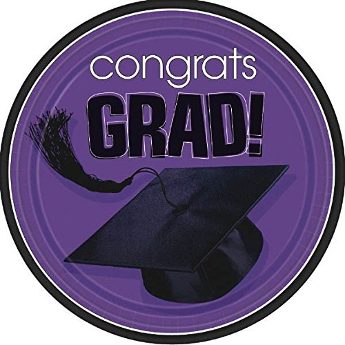 Flying Colors Graduation Party School Colors Round Plates, 7