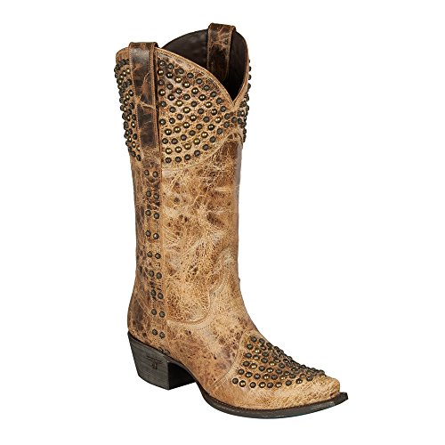 Scarponcino Da Donna In Pelle Rock On Stallone Cowgirl In Ottone Anticato Marrone 10 M