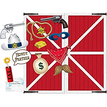 Amazon Com Western Photo Booth Props And Backdrop Set