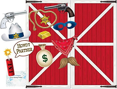 Western Photo Booth Props and Backdrop Set - Pack of 24 Prop Designs and Barn Door Back Drop - Perfect decorations for birthday party, cowboy party, western party or farm -