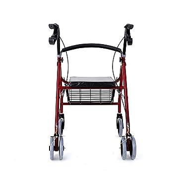 Andador plegable con ruedas de cuatro ruedas para personas mayores con asiento, respaldo, soporte