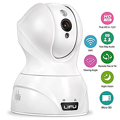 SpyGear-Wireless IP Camera, LiFu 1280 x 720P Home Security Surveillance HD Pan and Tilt WiFi Camera Built-In Microphone with Night Vision for Pet, Baby Video Monitoring - LiFu
