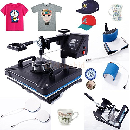 5 in 1 Digital Heat Press Transfer Sublimation Multifunction Machine T-Shirt/Hat/Mug/Plate/Cap Heat Press Mouse Pads Jigsaw Puzzles DIY press 16inch x 16inch w/ Dual LCD Timer Black UK Standard 110V