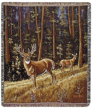 Simply Home Whitetail Morning Deer Pictorial Scene Tapestry Throw 50
