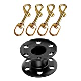 Dolity Black Aluminum Alloy Scuba Diving Finger Reel Spool & 4x Brass Swivel Bolt Snap - Corrosion Resistant & Durable