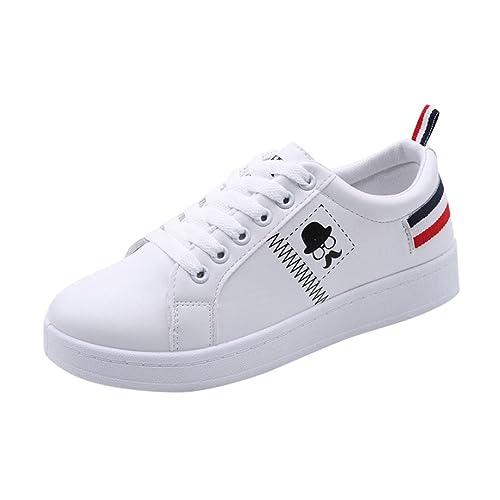 Zapatos Mujer,Zapatos de Las Mujeres de la Manera de Las señoras de la Barba Rayado Zapatillas Planas Zapatos Casual Blanco: Amazon.es: Zapatos y ...