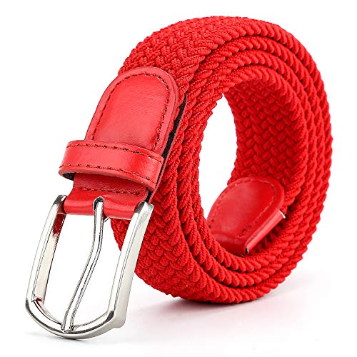 Braided Canvas Woven Elastic Stretch Belts for Men/Women/Junior with Multicolored (Red, XX-Large/44