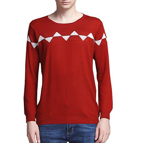 (Men's Geometric Pattern Crew Neck Essential Wool Work Sweater Large Red1)