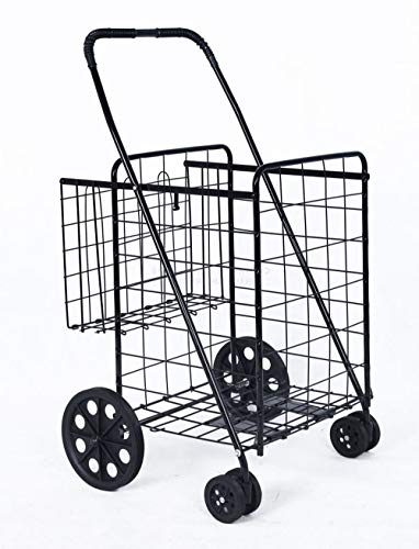 TG888 Grocery Folding Shopping Cart Basket Jumbo Size Swivel Wheels Trolley for Laundry Travel with Extra Space