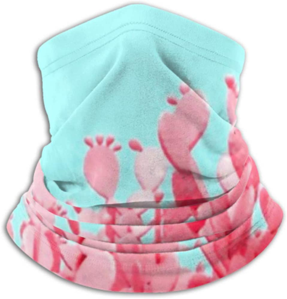 Neck Gaiter Neck Cap ,ski Mask Half Mask Fleece Neck Warmer ,multifunctional Unusual Pink Cactus Field On Turquoise Scarf,a Full Face Mask Or Hat