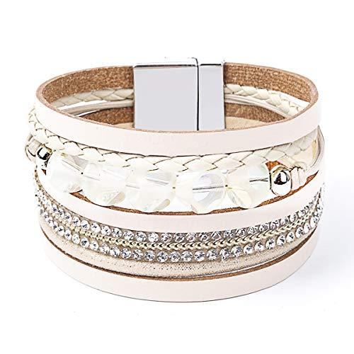 Women Leather Bracelet - Retro Fashion Braided Wrap Wristlet Handmade Boho MultiLayer Belt Pearl Jewelry with Magnetic Clasp - Bohemian Style Gift for Women (Polygonal beads-Beige)