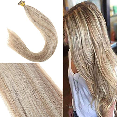 Youngsee 14inch Remy Itip Human Hair Extensions Pre Bonded Fusion Human Hair Ash Blonde Highlighted with Bleach Blonde Keratin Fusion Stick Tip Human Hair Extensions 50G