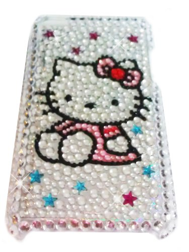 [WG] HELLO KITTY Apple iPod Touch 4th Generation 4G iTouch 4 Full Diamond Rhinestones Bling Jeweled BACK PIECE Protector Case (Pink Dress) + FREE WirelessGeeks247 Detachable Neck Strap / Lanyard