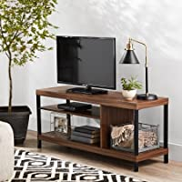 Sumpter Park Wooden TV Stand with Open Storage Shelves for TVs up to 42, Canyon Walnut Brown