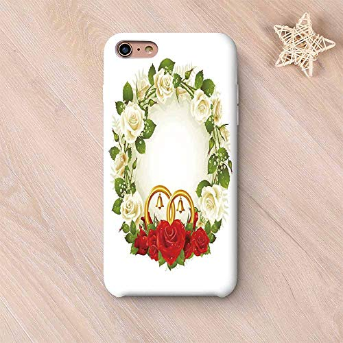 (Wedding Decorations Frosted & Smooth Surface Compatible with iPhone Case,Frame with White and Red Roses and Stylized Wedding Rings Romance Compatible with iPhone 7/8 Plus,iPhone 6 Plus / 6s Plus)