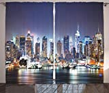Ambesonne Pictures New York City Manhattan Skyline At Night Skyscrapers for Living Room Curtains Art Work for Home Art Picture Prints New York Curtains 2 Panels, Navy Blue Brown Orange