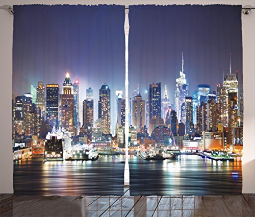 Ambesonne Pictures New York City Manhattan Skyline at Night Skyscrapers for Living Room Curtains Art Work for Home Art Picture Prints New York Curtains 2 Panels, Blue ()