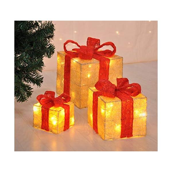 Bambelaa! Led Decorazione Light Gift Boxes - Set di 3 incl. Funzione Timer - Decorazione natalizia Decorazione natalizia Decorazione di Natale Illuminazione (Giallo) 2 spesavip