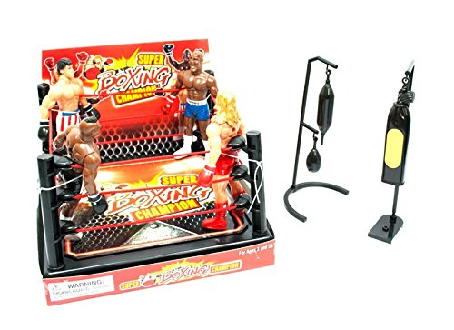 LilPals Super Boxing Champion Set - Includes Authentic 50 Square Inch Boxing Ring, Poles, Ropes, 4 Moveable Action Figures & Boxing Accessories (Heavy Bag, Speed Bag, (Mike Tyson Boxer)