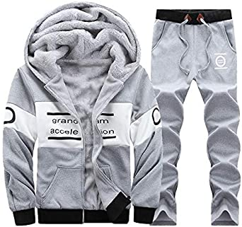 Manluo Mens Winter Tracksuits Thick Sweatsuits Hoodies 2 Pieces Warm Sports Jogging Suits Active Gym Workout Running