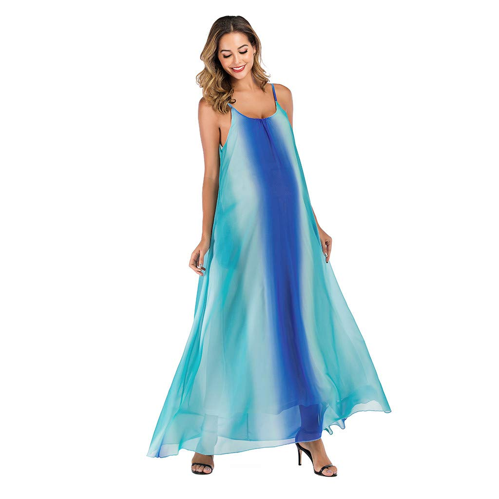 Maternity Long Dress for Photoshoot Off Shoulder Sleeveless Chiffon Gown Fashion Gradient Pregnancy Sling Beach Maxi Dresses (Blue, XL)