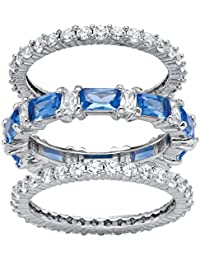 Platinum-Plated Emerald Cut Simulated Blue Sapphire and Cubic Zirconia Eternity Ring Set