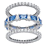 Palm Beach Jewelry Platinum-Plated Emerald Cut Simulated Blue Sapphire and Cubic Zirconia Eternity Ring Set