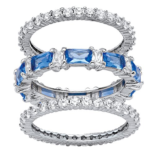 Palm Beach Jewelry Platinum-Plated Emerald Cut Simulated Blue Sapphire and Cubic Zirconia Eternity Ring Set Size ()