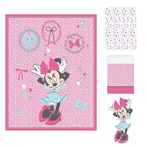 Disney baby Minnie Mouse All About Bows 4 Piece Nursery Crib Bedding Set Pink Aqua