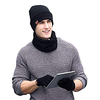 Knit Hat Set Winter Beanie Hats Scarf Touch Screen Gloves 3-Pieces Hat Scarf Gloves Set Thick Knit Skull Cap Unisex
